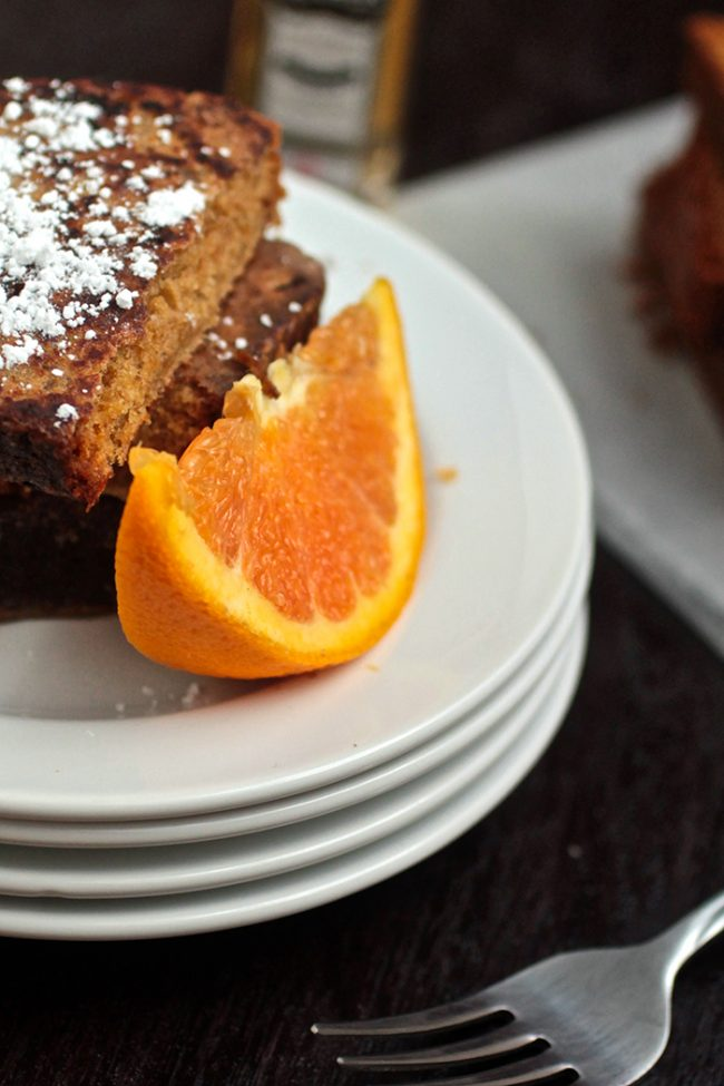 Pumpkin Bread French Toast with Orange and Whiskey