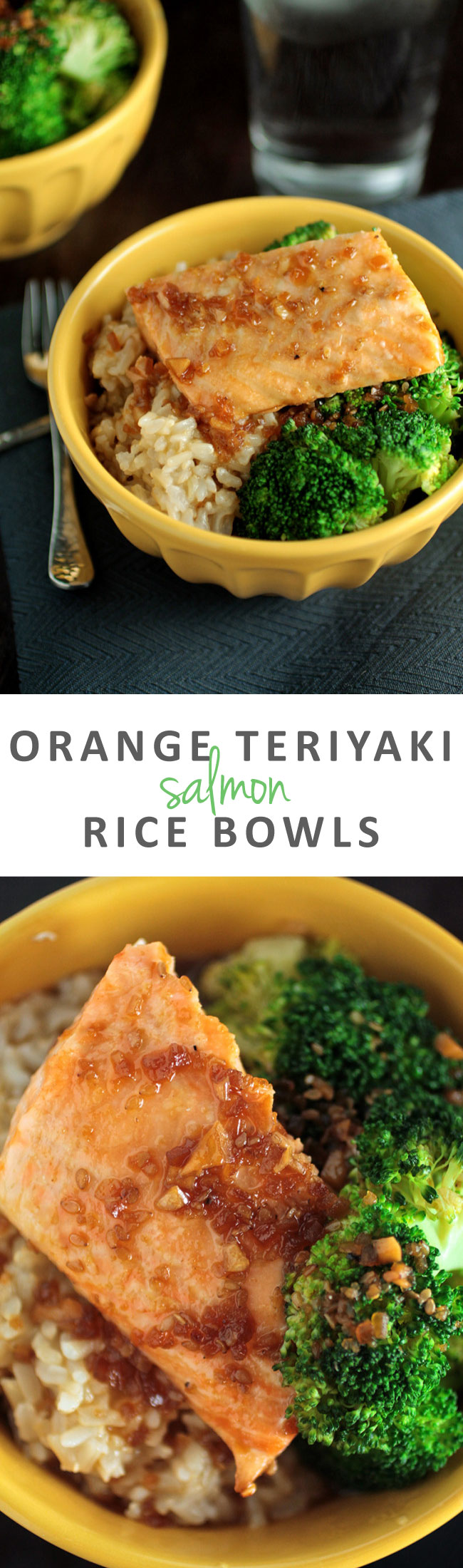 Orange Teriyaki Salmon Rice Bowls | This easy, healthy recipe will help you have dinner on the table in no time! Delicious salmon and fresh vegetables come together for a simple, quick weeknight meal.