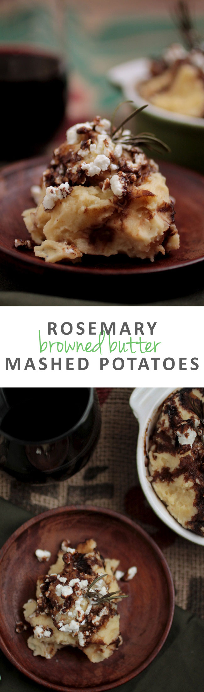 Rosemary Browned Butter Mashed Potatoes with Goat Cheese and Balsamic Glaze | Step up your side dish recipe game with these decadent, incredible mashed potatoes. Vegetarian.