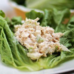 A scoop of chicken salad sitting on a large lettuce leaf.