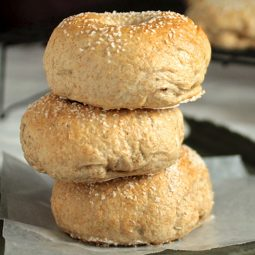 Three bagels stacked on top of each other.