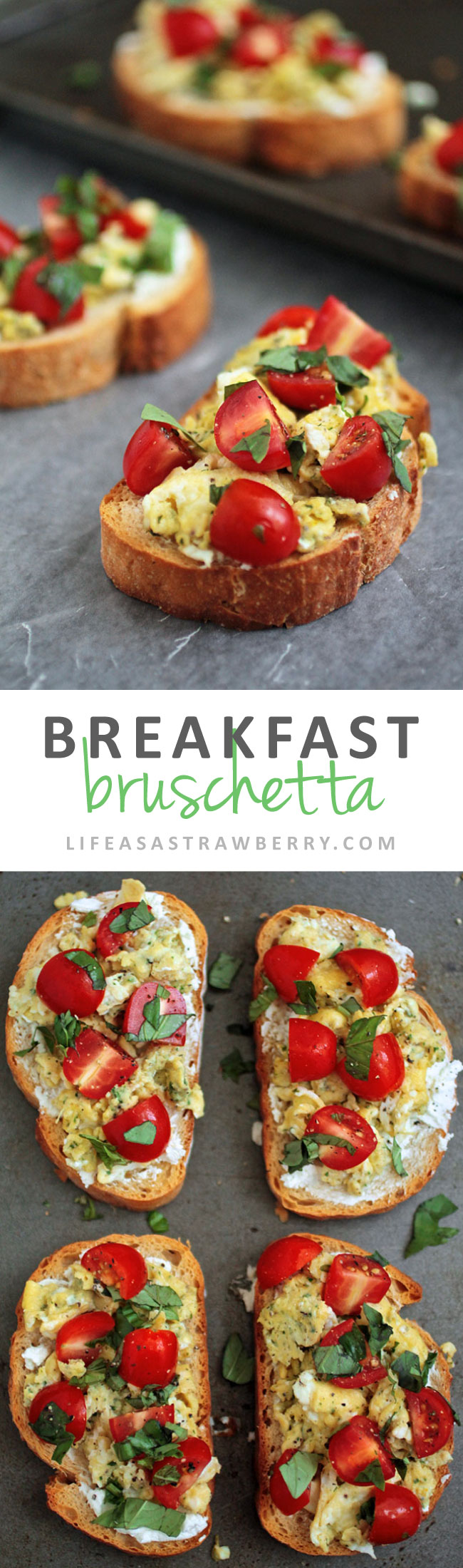 Breakfast Bruschetta | Shake up your morning routine with this breakfast bruschetta recipe - fluffy scrambled eggs, fresh tomatoes and basil atop crusty french bread make for an easy breakfast recipe that's sure to be a hit!