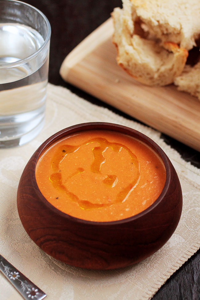 Creamy Apple Tomato Soup   This quick and easy soup is perfect for chilly fall days! Simple, seasonal ingredients and ready in under an hour. Vegan, Vegetarian.