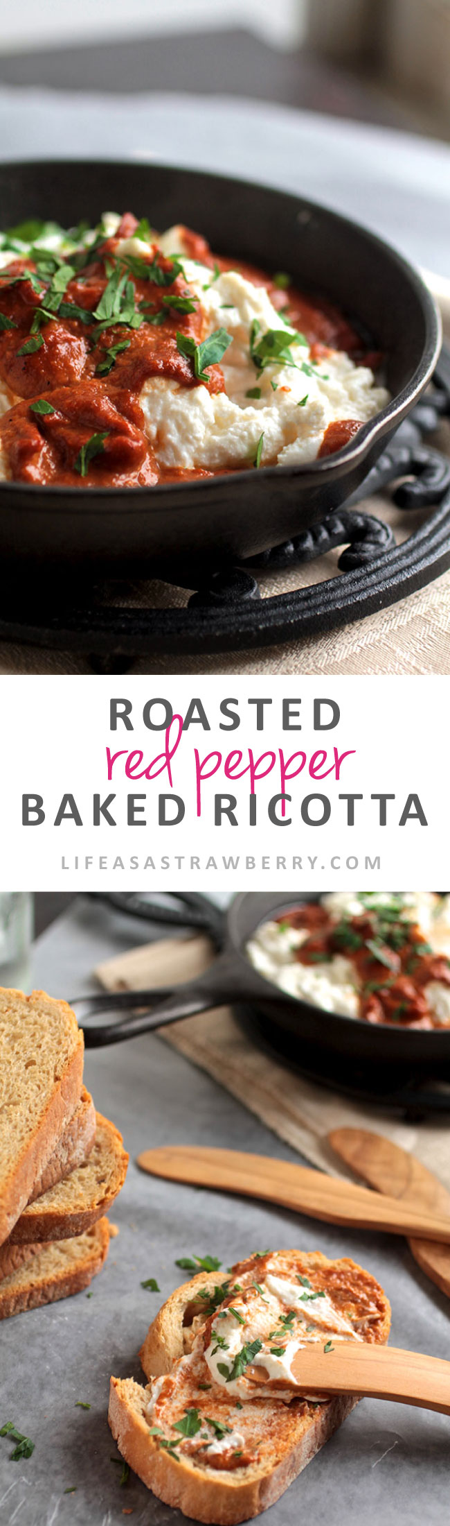 Roasted Red Pepper Baked Ricotta | This amazing baked cheese dip is sure to be a hit! Velvety ricotta cheese with a flavor-packed roasted red pepper sauce. This amazing roasted red pepper baked ricotta is the perfect ricotta dip for your next gathering! A simple roasted red pepper sauce is baked with ricotta cheese for a warm and hearty appetizer your guests are sure to love.