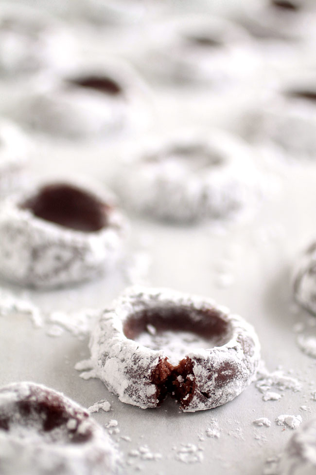 Chocolate cookie dough covered in powdered sugar sitting on a white background.