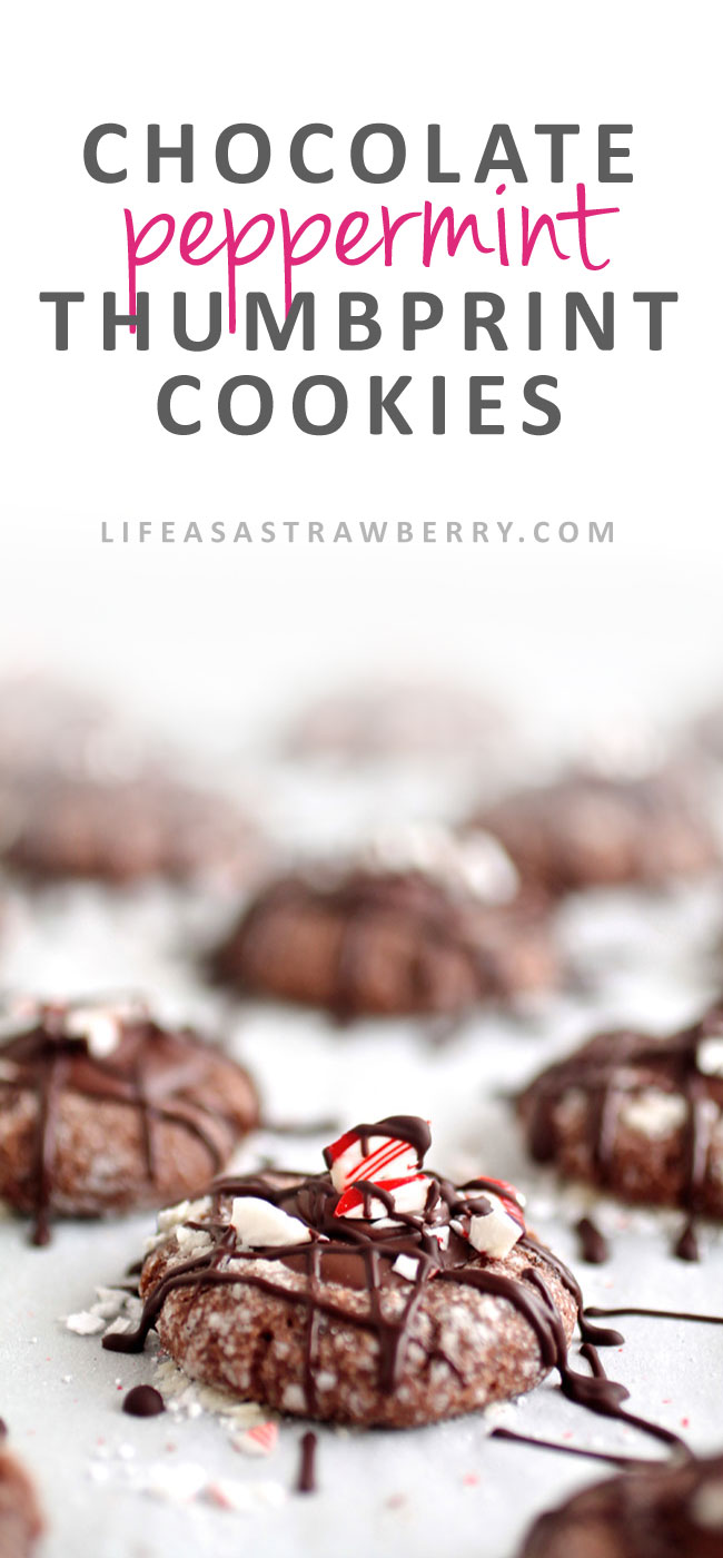 Triple Chocolate Peppermint Thumbprint Cookies | Be the hit of your cookie exchange with these easy chocolate thumbprint cookies! Add crushed peppermint during the holidays for a festive touch. Vegetarian.