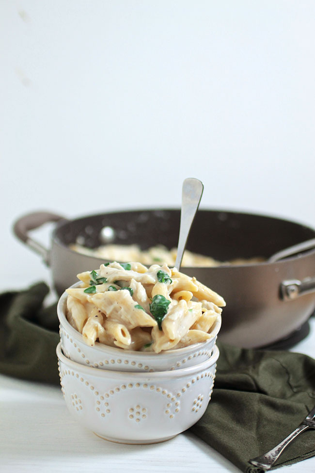 Chicken alfredo with spinach