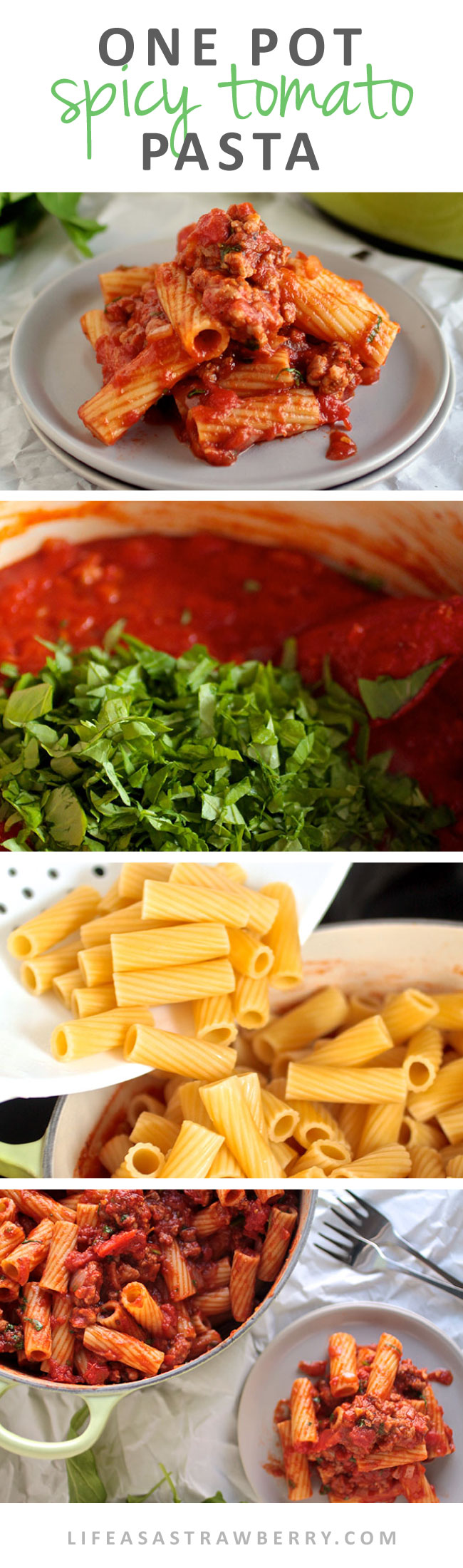 One Pot Spicy Tomato Pasta | This quick and easy pasta recipe is perfect for busy weeknights! Delicious rigatoni pasta, a quick spicy Italian Sausage and tomato sauce, and some fresh arugula give this pasta a fun twist on the classic tomato sauce.