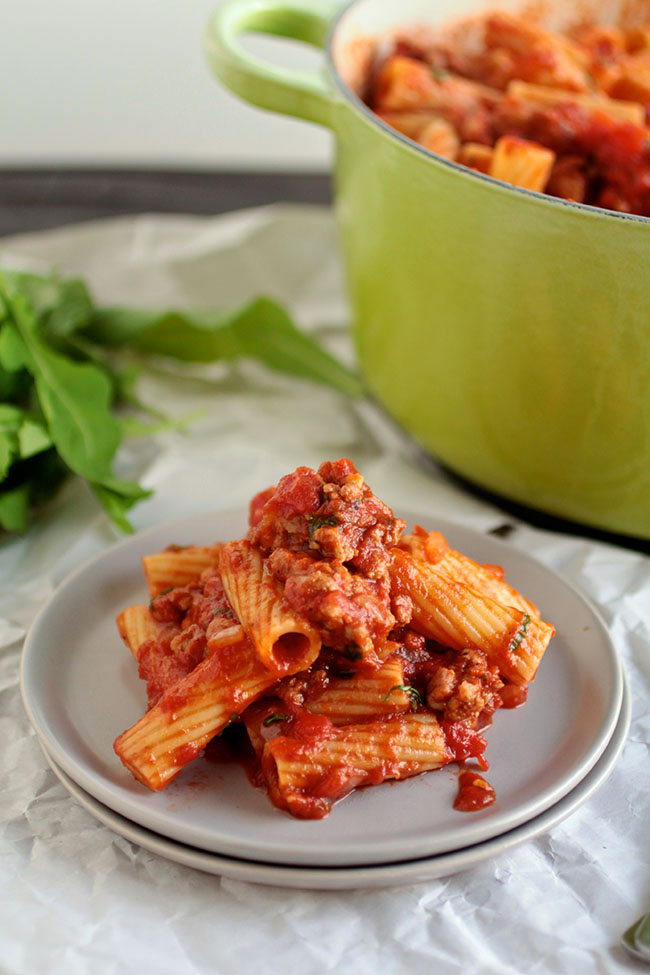 This pasta in a spicy tomato sauce is perfect for busy weeknights! Ready in under an hour.