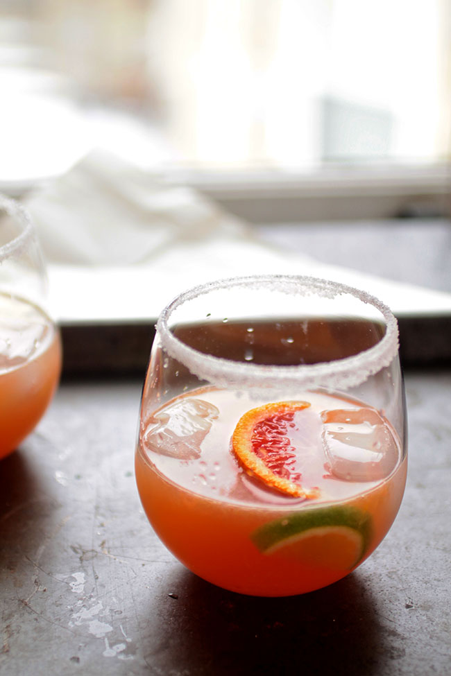 Simple syrup, fresh blood orange juice, and tequila make a simple and delicious margarita recipe!