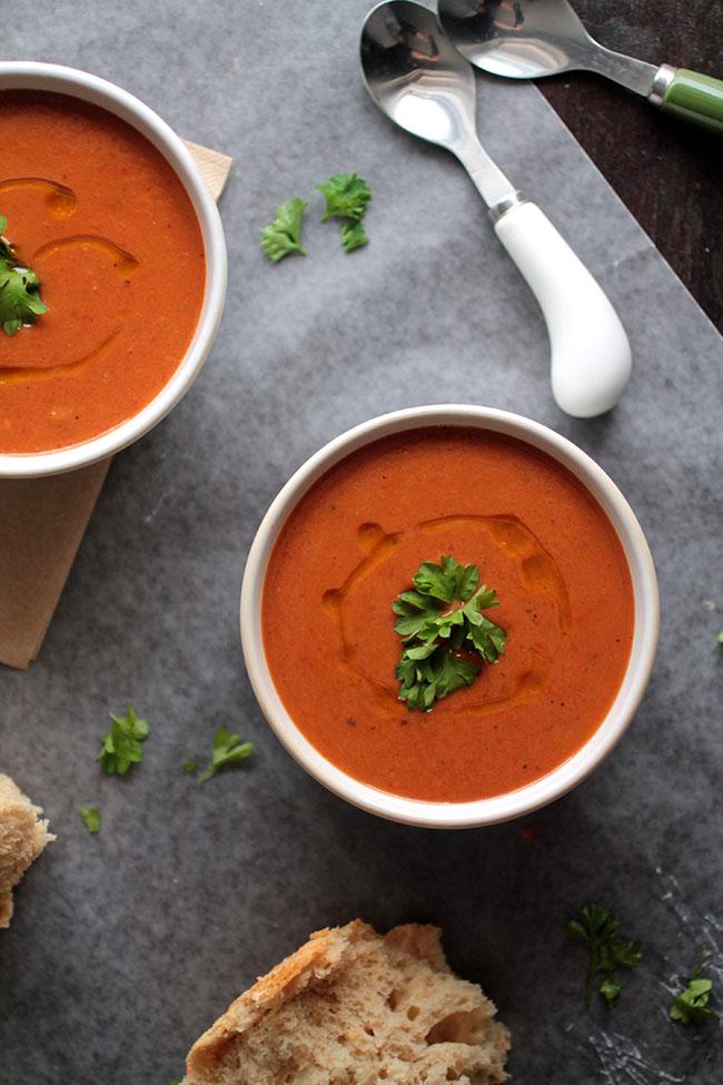 Vegan red pepper soup recipe. Vegan, Vegetarian.