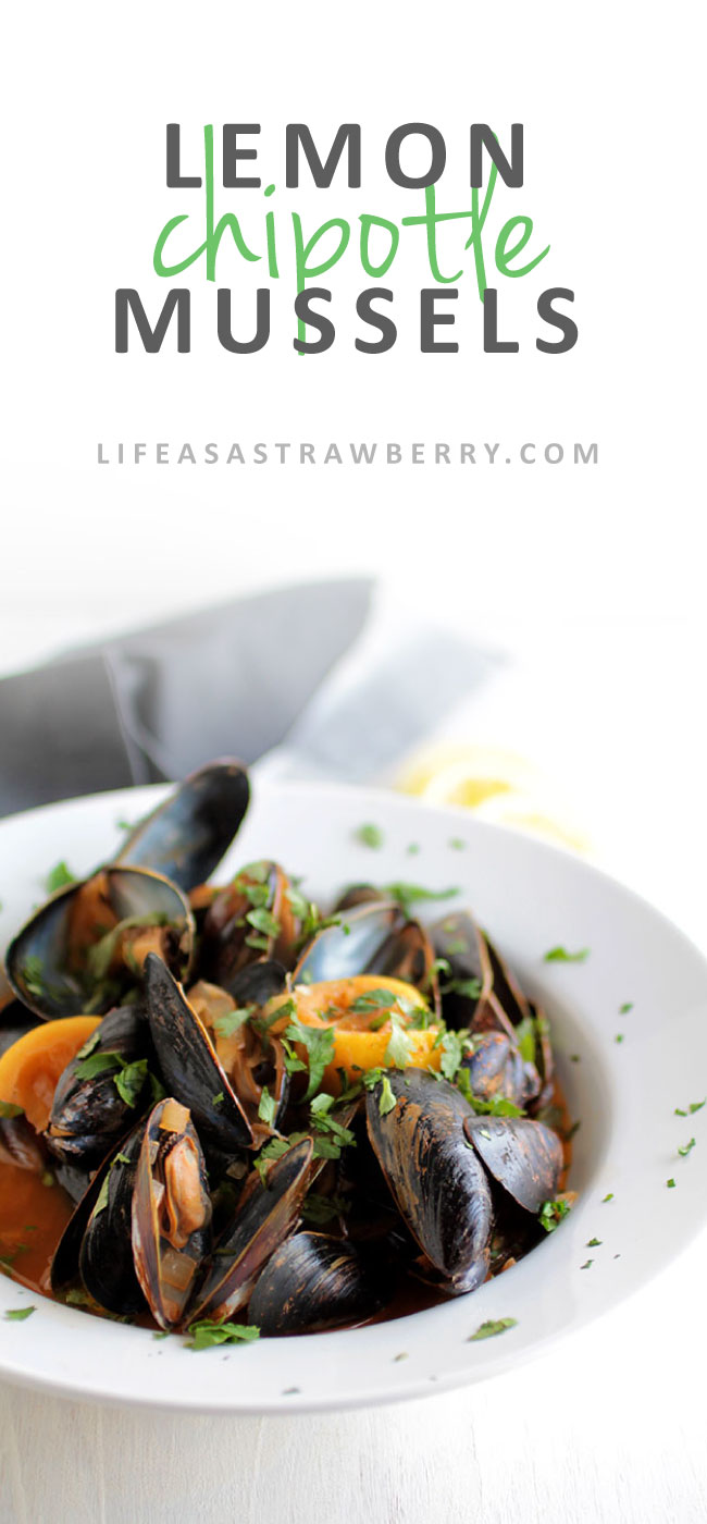 Lemon Chipotle Mussels Recipe | This quick and easy mussel recipe has a smoky, delicious chipotle chili white wine sauce, fresh lemon, a sprinkle of cilantro, and incredible flavor. Ready in less than 30 minutes.