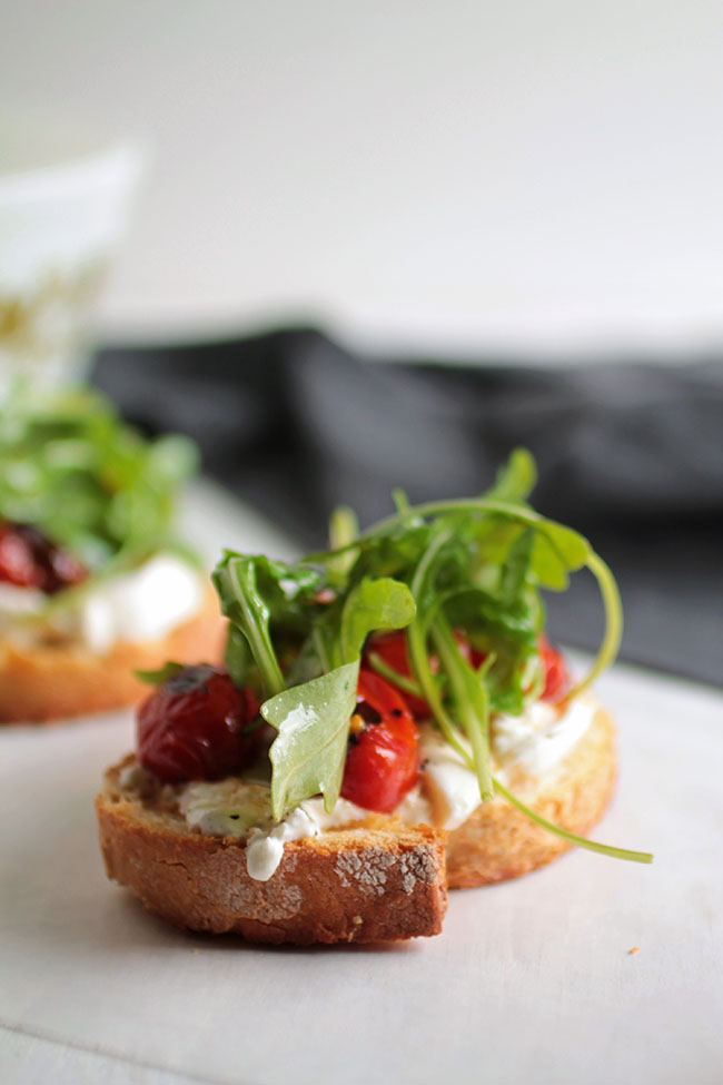 Easy Arugula and Blistered Tomato Crostini