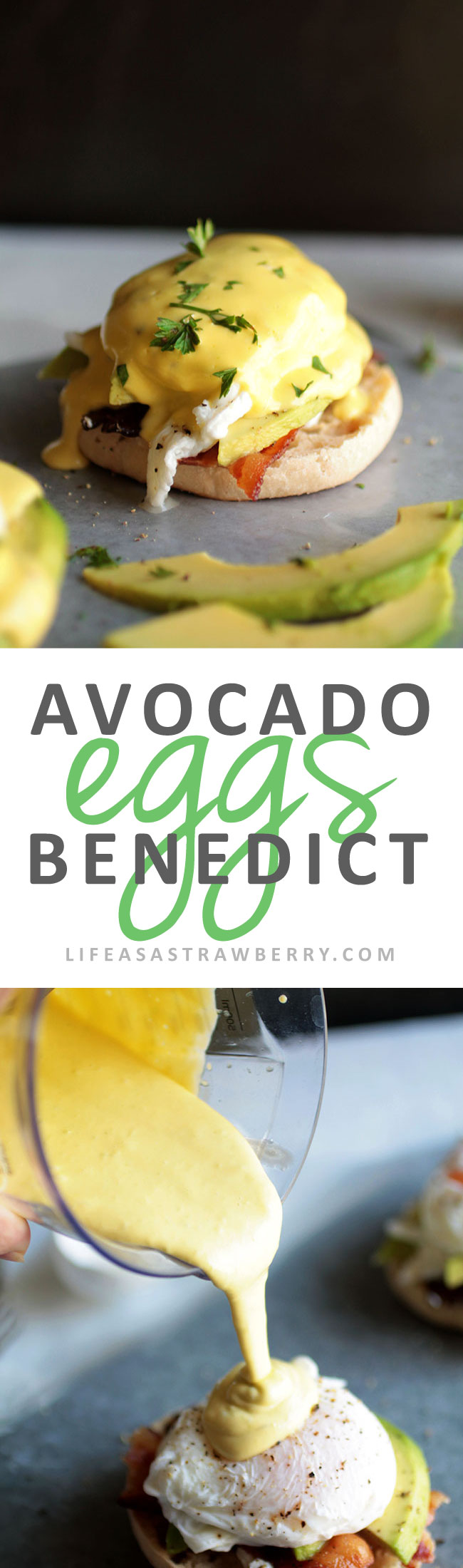 Avocado Eggs Benedict | Shake up your brunch routine with this easy eggs Benedict recipe! Complete with fresh, creamy avocado, crispy bacon, and tangy goat cheese for a fun twist on this classic breakfast recipe. Made with a foolproof blender hollandaise sauce!