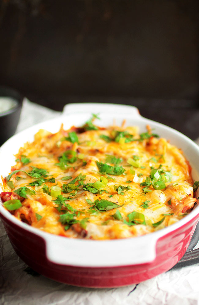 A quick and tasty Chicken Enchilada Casserole - in lasagna form!