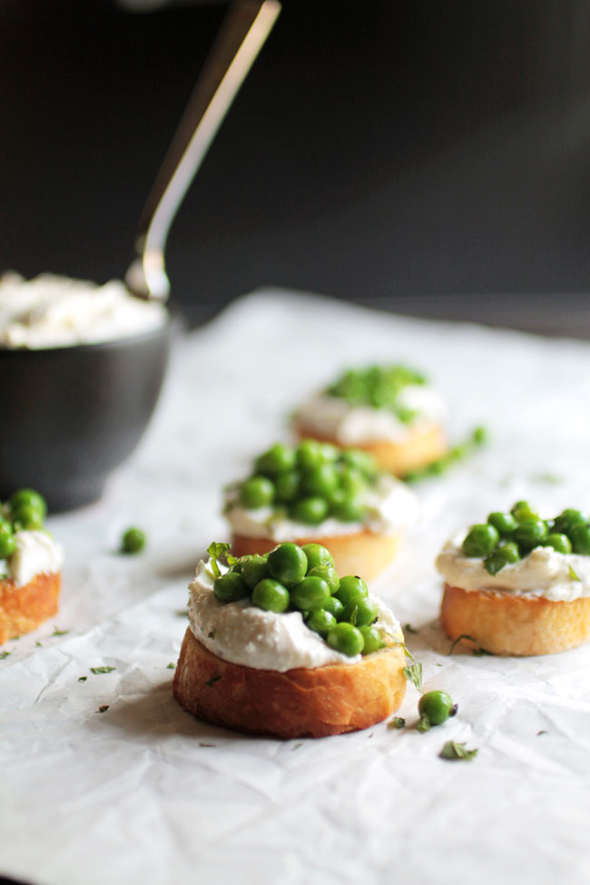Pea and Mint Crostini recipe with homemade Garlic Whipped Feta Cheese