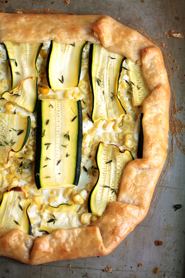 Savory Galette - With corn, zucchini, and garlic whipped feta cheese.
