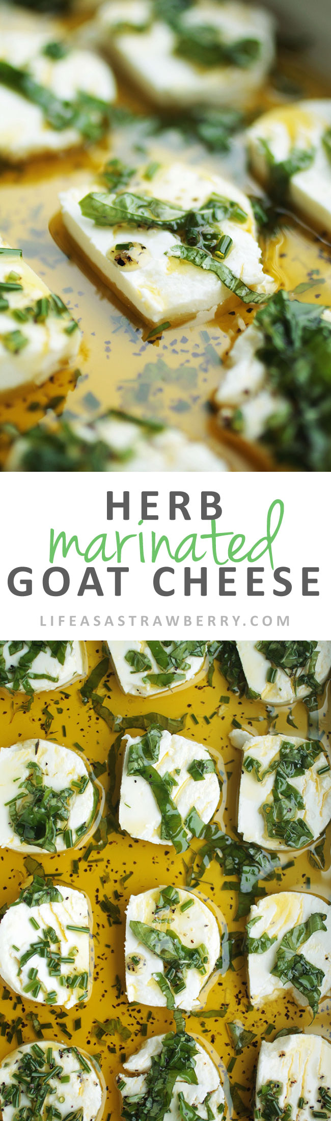Herb Marinated Goat Cheese - This easy vegetarian appetizer is wonderful on crostini! A flavorful herb marinade covers slices of tangy goat cheese. Vegetarian.