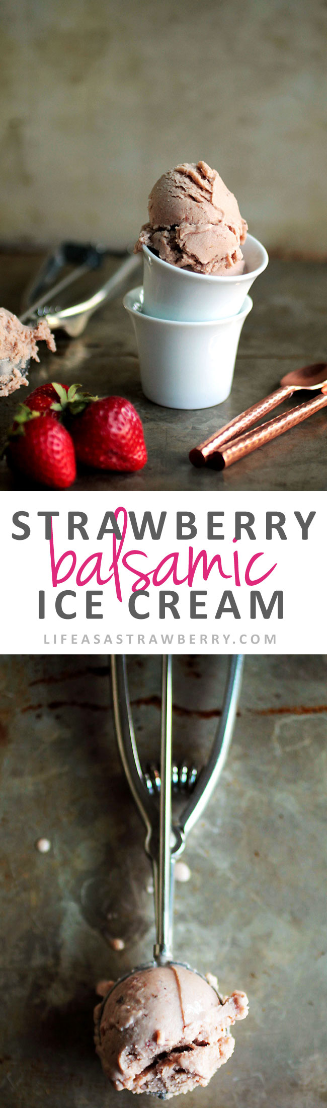 Roasted Strawberry Balsamic Ice Cream - This easy homemade strawberry ice cream gets added flavor from roasting fresh strawberries with a splash of balsamic vinegar. The perfect summer berry dessert recipe! Vegetarian.