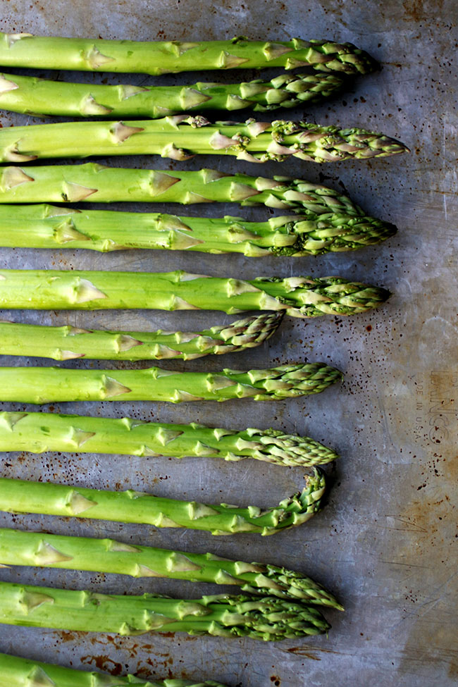 Asparagus on a sheet pan.