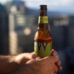 Hands holding a bottle of beer.