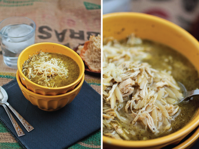 Pesto Turkey Orzo Soup