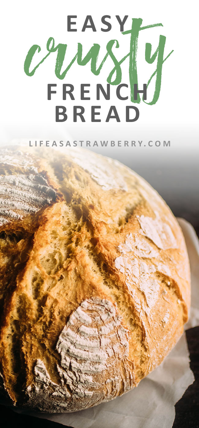 Easy Crusty French Bread - This easy no knead dutch oven bread recipe is sure to be a hit! Ready quickly in just a few hours - no overnight rising necessary and no bread machine needed. Baked in a dutch oven for a crispy crust on the outside and soft, airy homemade bread on the inside! Will be one of your favorite quick bread recipes in no time! With a crispy crust and a soft exterior that will make it seem like artisan bread right from your home kitchen. Perfect right out of the oven, as sandwich bread, or as toast at tomorrow's breakfast. Vegetarian.
