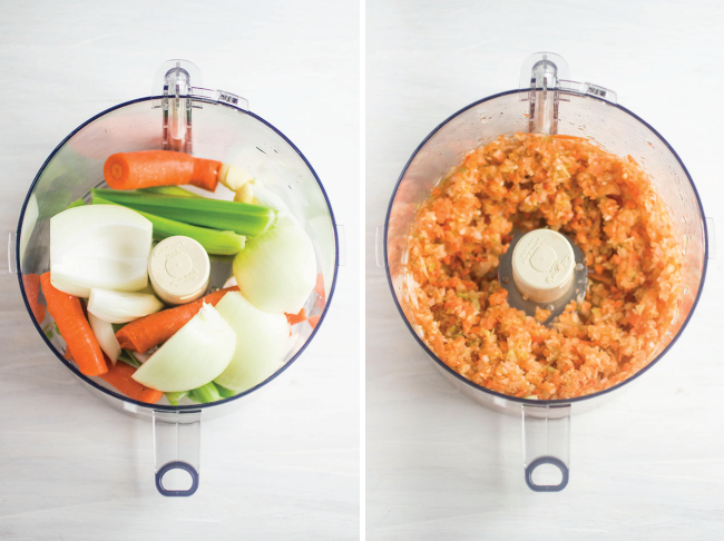 before and after photo of food processor on a white background pulsing carrots, onions, celery, and garlic for bolognese sauce