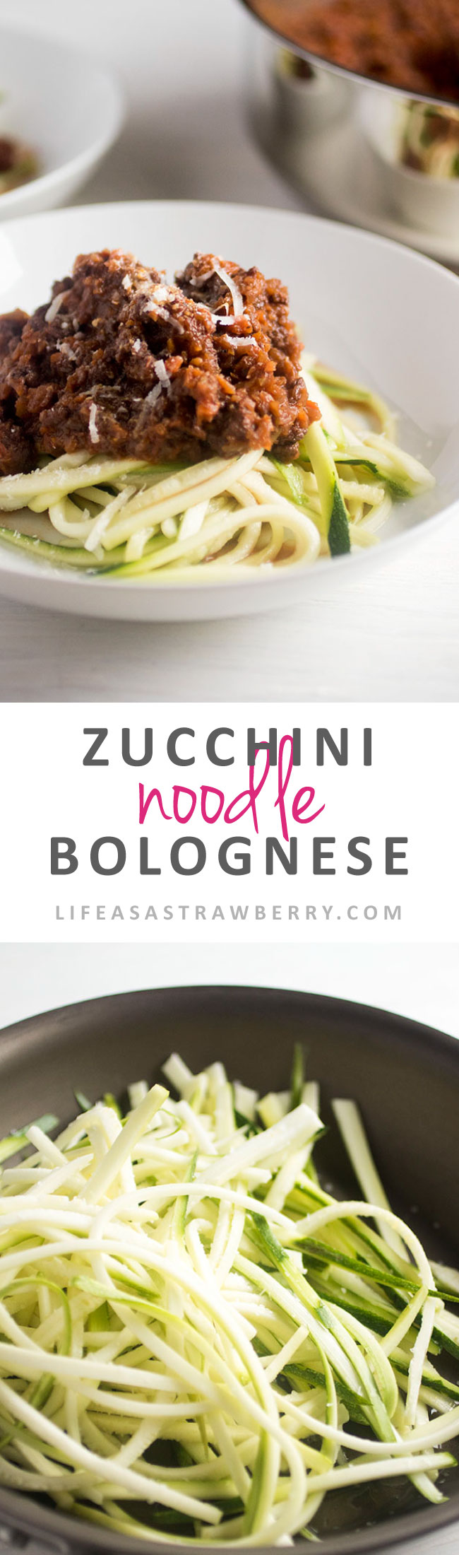 Zucchini Noodle Bolognese - Lighten up a classic pasta recipe with this easy zoodle bolognese recipe! Low-carb, healthy recipe with zucchini noodles and a veggie -based, rich red wine pasta bolognese sauce. Perfect healthy spaghetti for quick weeknight meals. How to make zucchini noodles - without a spiralizer! Use ground turkey instead of beef for an even lighter option. | lifeasastrawberry.com