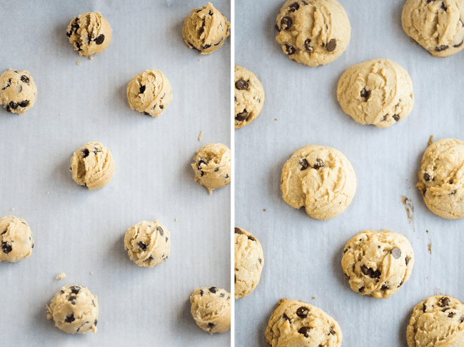 Side by side overhead photos of raw and baked chocolate chip cookies on a baking sheet lined with parchment paper