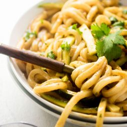 Wooden spoon twirling udon noodles in a white bowl.
