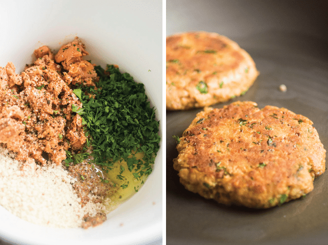 Photo of a bowl of ingredients for salmon patties next to a photo of cooked salmon burger patties