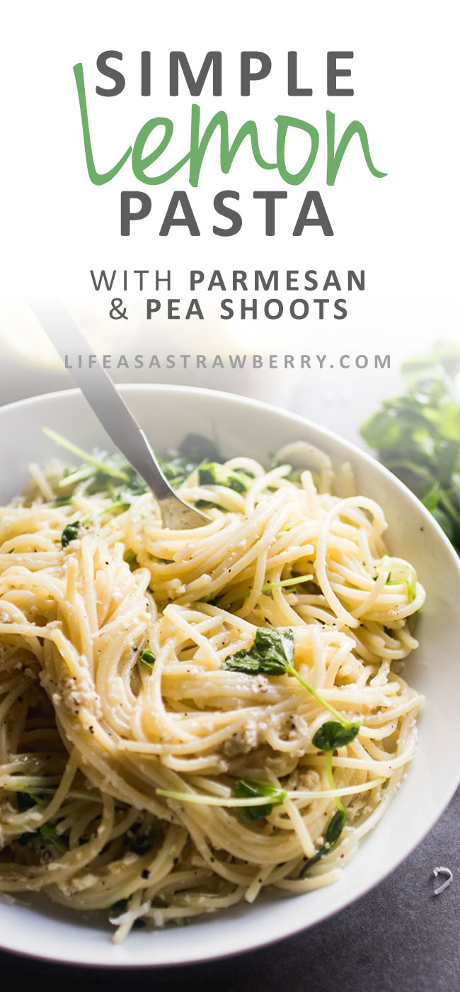 Simple Lemon Pasta with Parmesan and Pea Shoots - This easy weeknight recipe is sure to be a hit! Fresh spring pea shoots, spaghetti noodles, and a simple lemon sauce with pepper and parmesan cheese pack this pasta recipe with a ton of flavor. A vegetarian pasta with lemon and olive oil ready in 30 minutes.