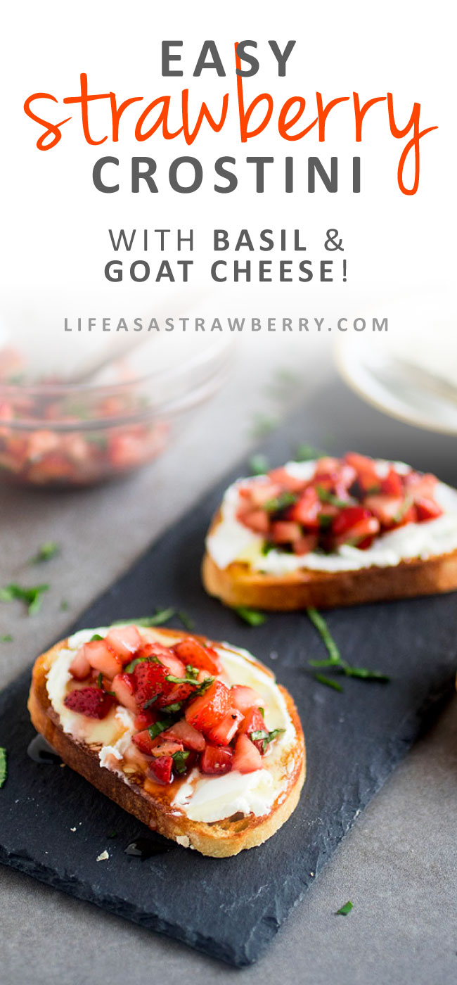 Easy Strawberry Crostini - This delicious strawberry crostini recipe is perfect for summer entertaining! Creamy goat cheese and a simple strawberry salsa with fresh basil and balsamic are layered on crispy french bread and topped with a drizzle of honey. Vegetarian appetizers with toasted bread.