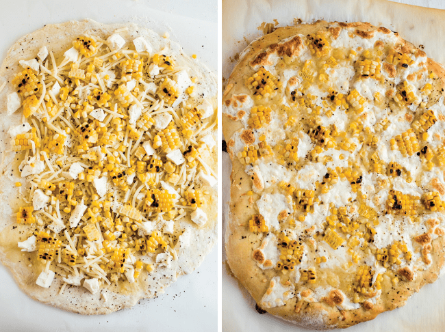 Pizza dough topped with cheese and grilled corn.
