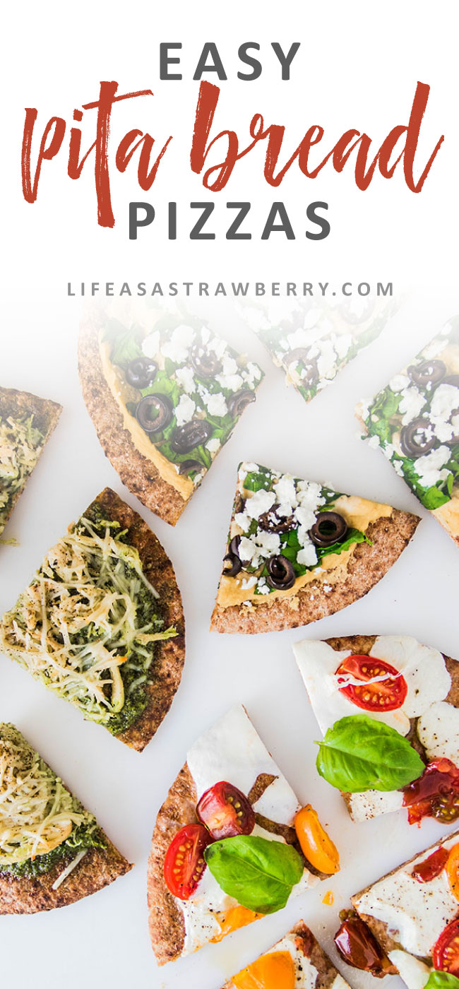Easy Pita Bread Pizzas - This quick and easy weeknight meal is perfect for busy evenings and is great for meal prep! Three different pita bread pizza recipes, including two vegetarian options. A great addition to your meal planning rotation!