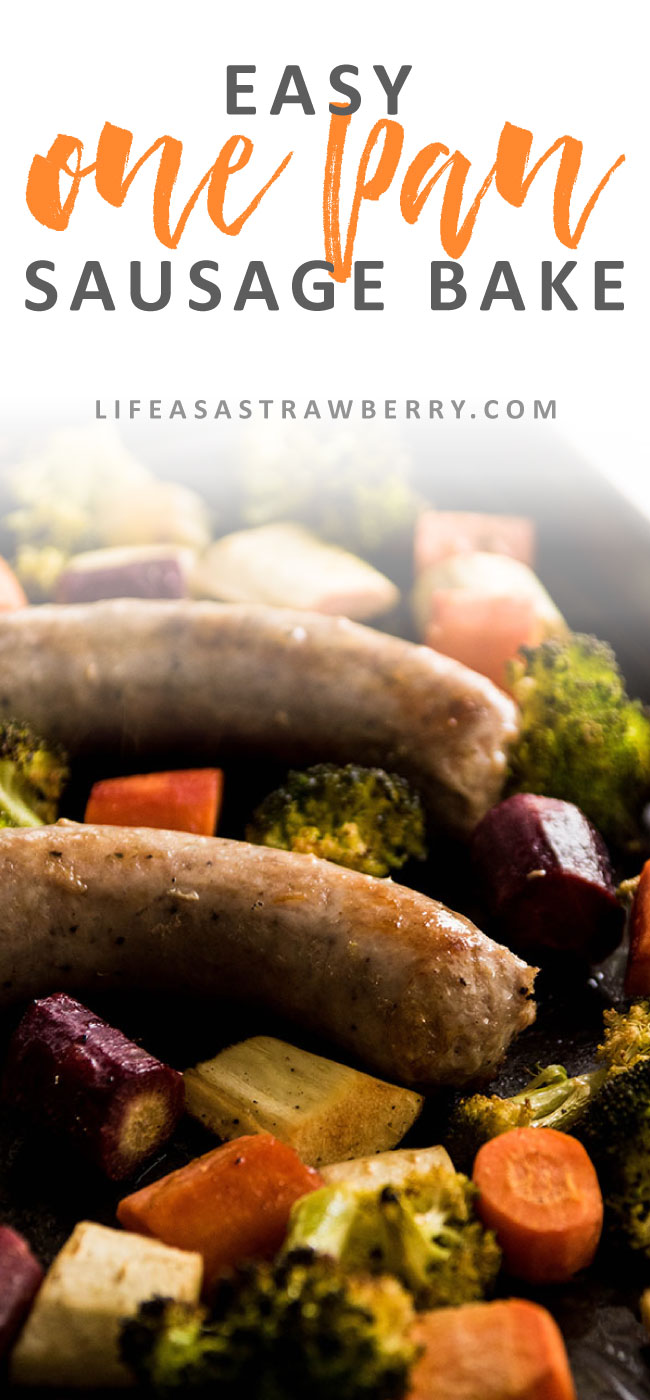 Easy One Pan Sausage Bake - This easy one pan meal will be your new favorite sausage dinner recipe! Polish sausage, carrots, parsnips and broccoli make an easy sheet pan supper that's sure to please.