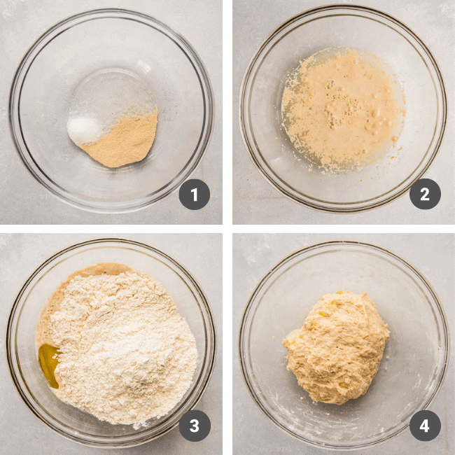 Mixing pizza dough ingredients in a glass mixing bowl.