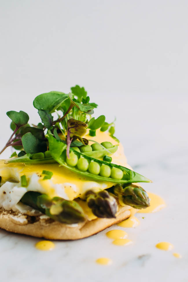 Vegetarian Eggs Benedict with Asparagus, goat cheese, and homemade hollandaise sauce.