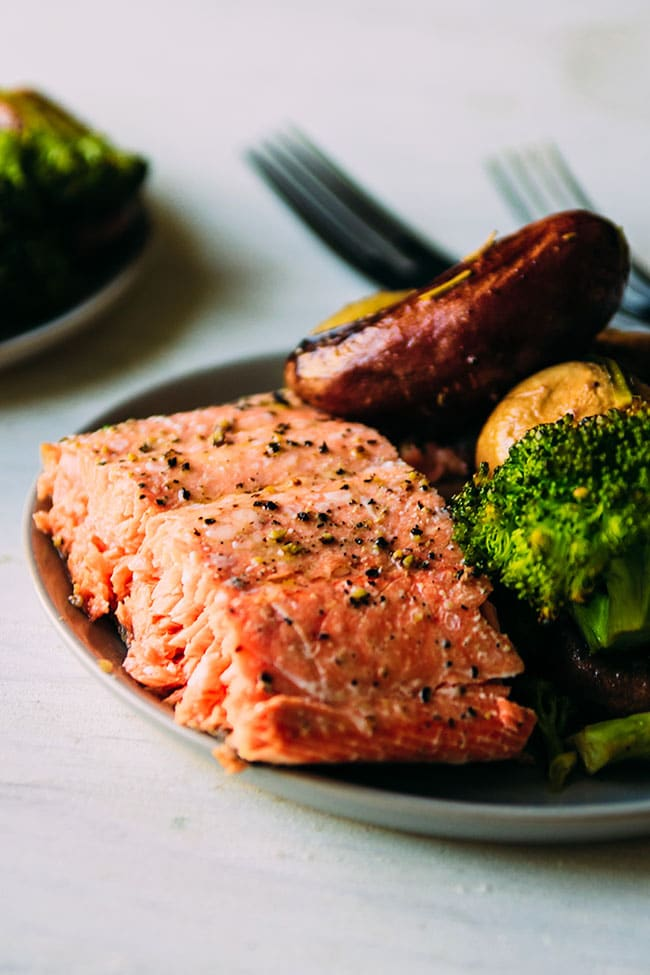 Sheet Pan Salmon Dinner with Fingerling Potatoes, Broccoli, and Mushrooms. Ready in under 45 minutes.