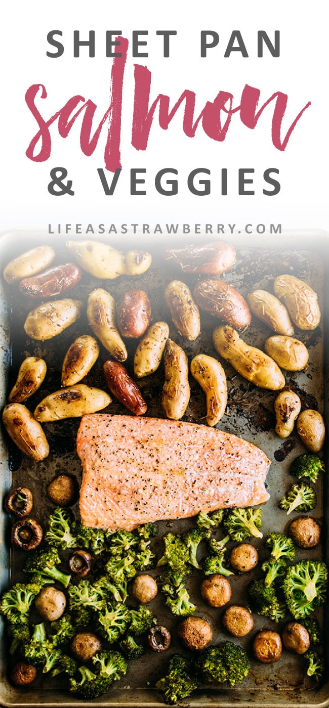 Add this simple baked salmon recipe to your collection of sheet pan dinners! Sustainable salmon, fingerling potatoes, and hearty vegetables make this a perfect one pan meal for busy weeknights. Ready in under an hour.