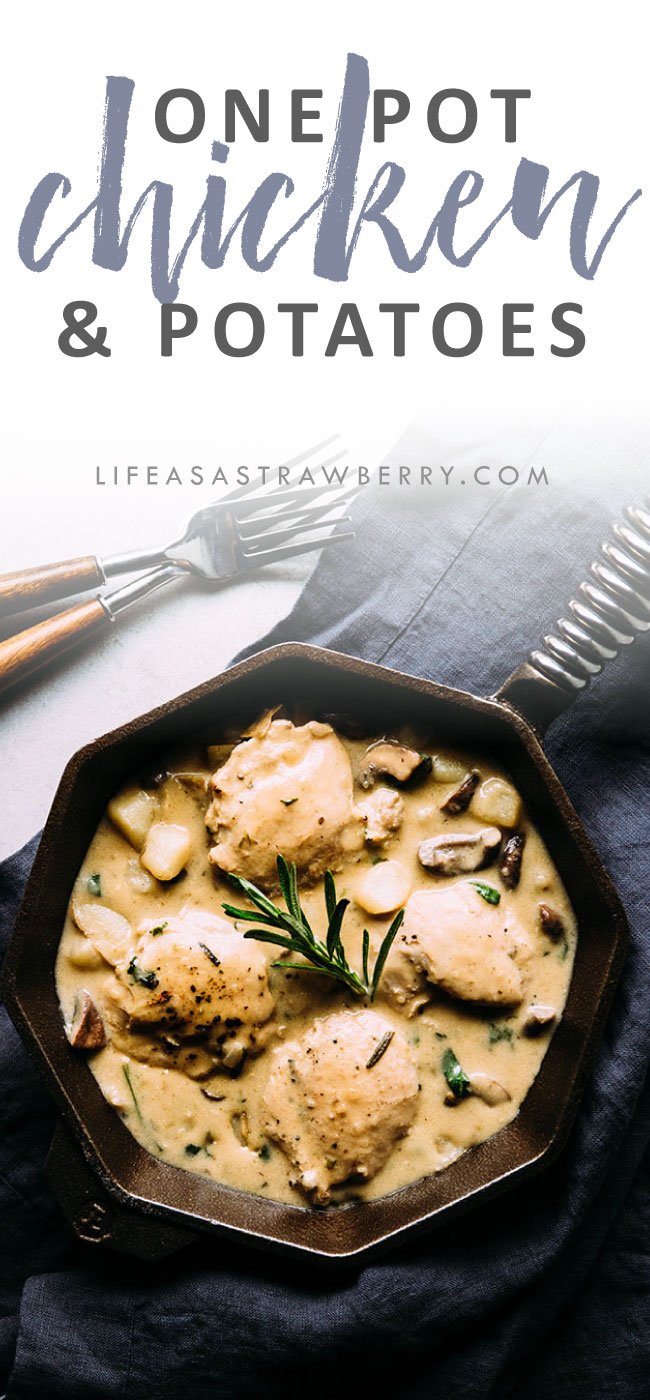 Easy, creamy chicken and potatoes - This one pot chicken recipe is perfect for busy weeknights! Ready in under an hour with a creamy garlic parmesan sauce, potatoes, mushrooms, and fresh spinach.
