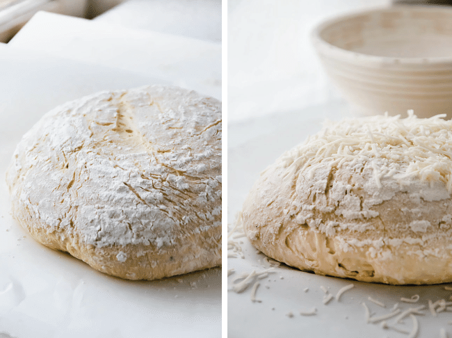 side by side photos of an uncooked loaf of bread plain and then topped with shredded cheese