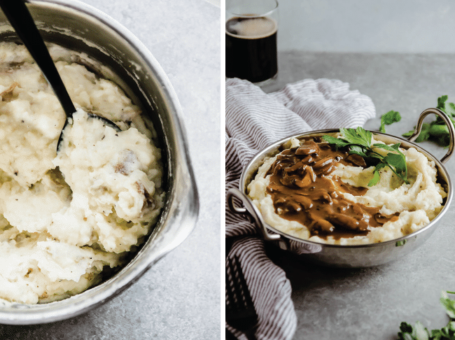 mashed potatoes in a saucepan with a black spoon next to a small bowl of mashed potatoes topped with mushroom gravy