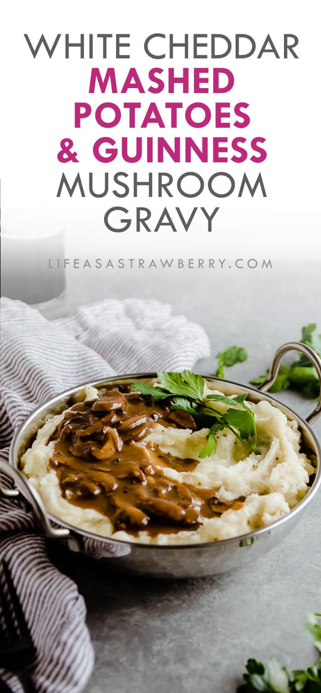 Mashed potatoes in a silver bowl with text overlay