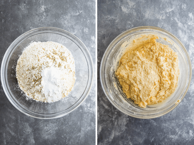 side by side overhead photos of wet ingredients and dry ingredients for cornbread batter