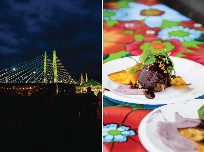 photo collage of tillikum bridge at night and a braised beef appetizer