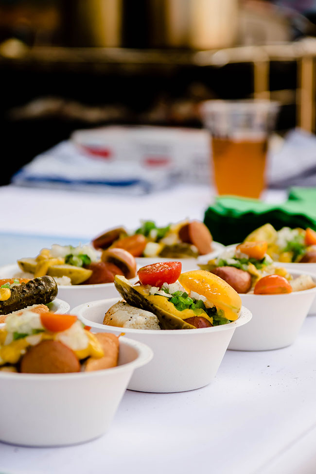 Mini Chicago Hot Dogs in White Bowls.