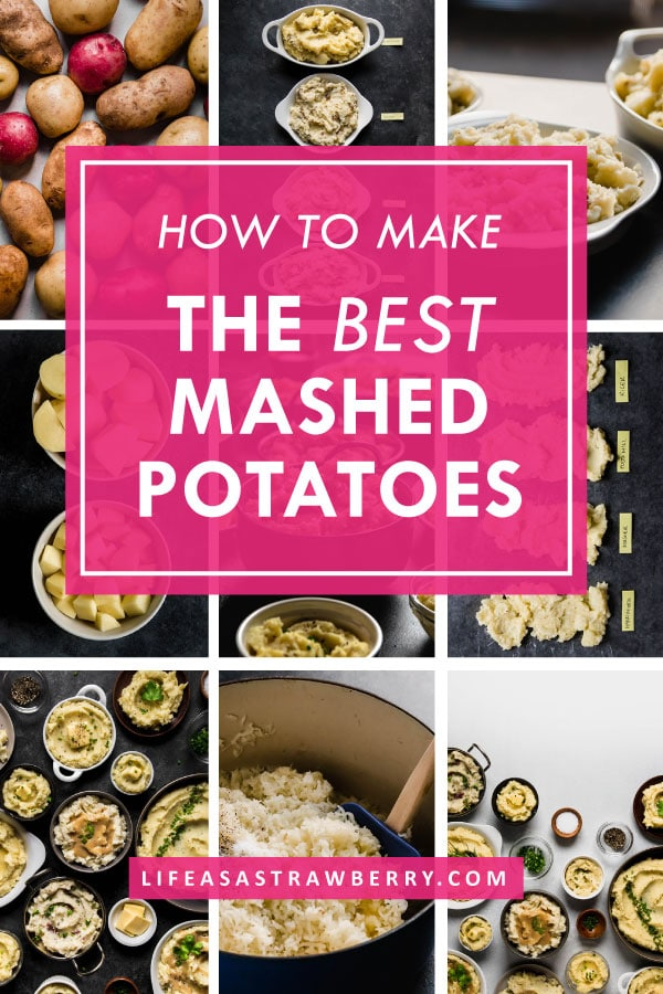 Graphic with multiple mashed potato photos under a pink text overlay