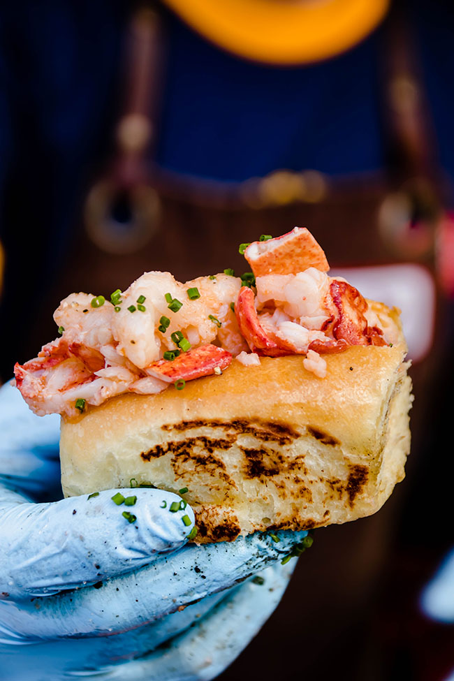 Hand in a blue glove holding a mini lobster roll.